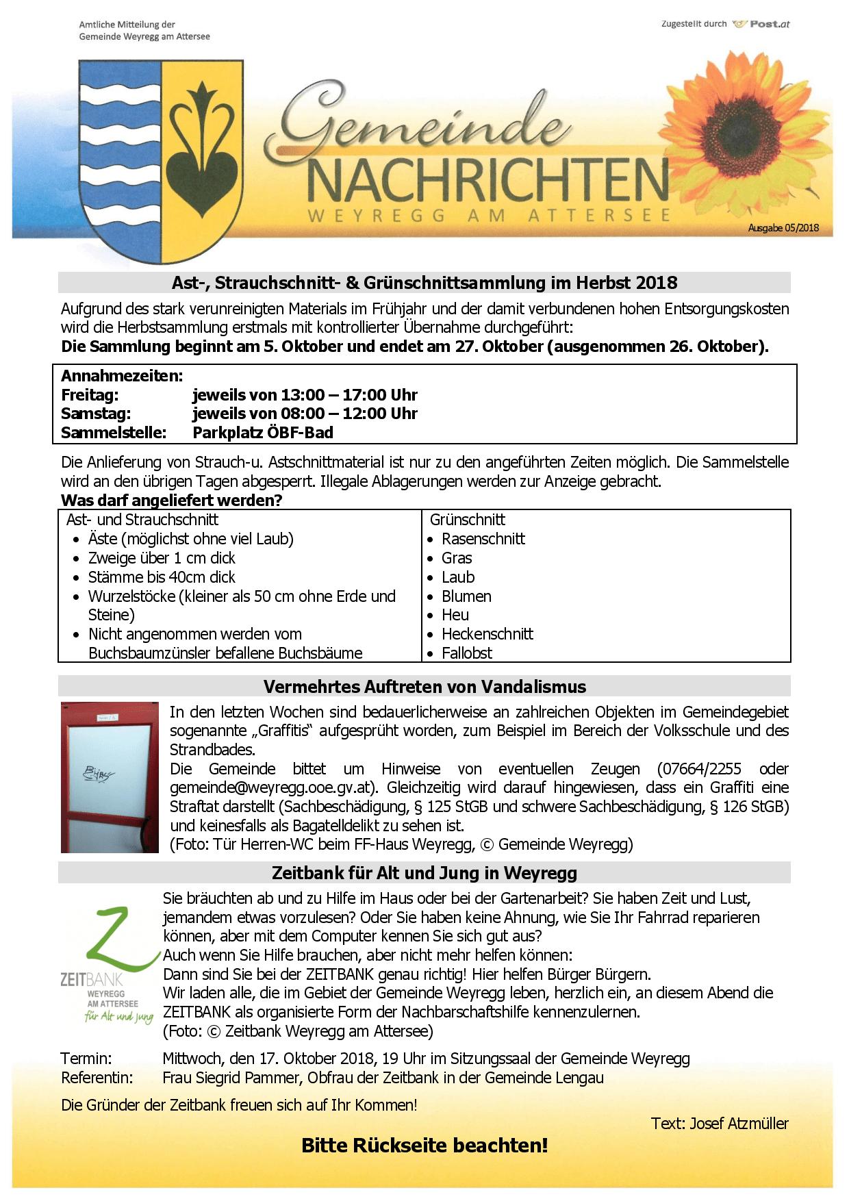 Gemeindenachrichten 05/2018 - Herzlich willkommen in Weyregg am ...